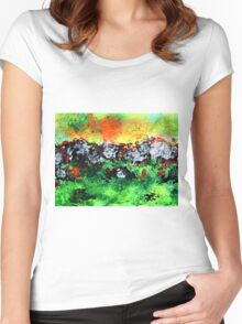 Fiery sun over winter mountains Women's Fitted Scoop T-Shirt