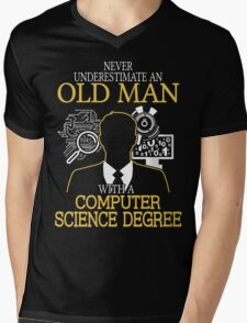 Never Underestimate An Old Man With A Computer Science Degree Mens V-Neck T-Shirt