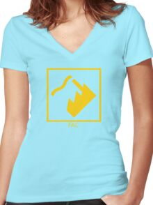 Record Label 4 (yellow) Women's Fitted V-Neck T-Shirt