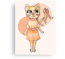 Ribbon Kitty Canvas Print