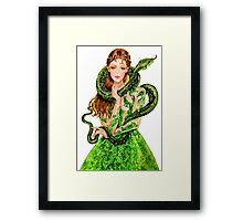 woman with snake by remi42 Framed Print