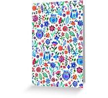 Little Owls and Flowers on White Greeting Card