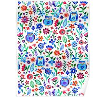 Little Owls and Flowers on White Poster