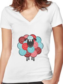 Curly the Sheep Women's Fitted V-Neck T-Shirt