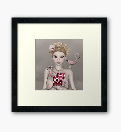 Surreal portrait of a woman with big eyes Framed Print