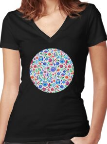 Little Owls and Flowers on White Women's Fitted V-Neck T-Shirt