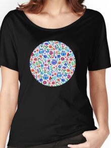 Little Owls and Flowers on White Women's Relaxed Fit T-Shirt