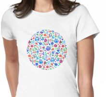 Little Owls and Flowers on White Womens Fitted T-Shirt