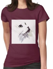 Snow white Cat Womens Fitted T-Shirt
