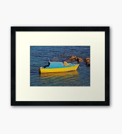 Small fishing boat, Halki Framed Print