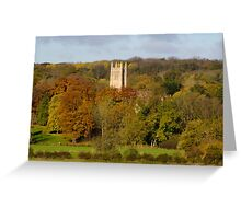 Church spire amid autmnal scene England UK Greeting Card