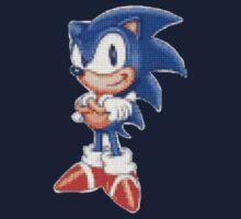 Cross Stitch Pixel Sonic The Hedgehog Kids Tee