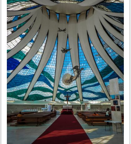 Inside of the Cathedral of Brasília Sticker