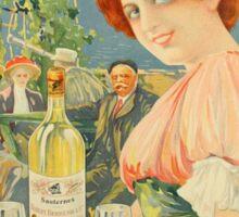 Vintage French white bordeaux wine advertising Sticker