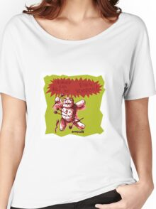 cartoon style voodoo baby with green background Women's Relaxed Fit T-Shirt