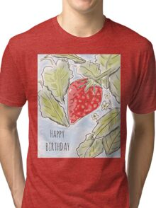 """Happy Birthday"" Strawberry Painting Tri-blend T-Shirt"