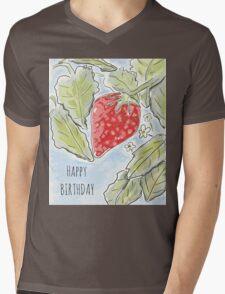 """""""Happy Birthday"""" Strawberry Painting Mens V-Neck T-Shirt"""