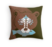 Folk Art Spirit Bear with Fish Throw Pillow