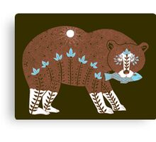 Folk Art Spirit Bear with Fish Canvas Print