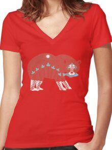Folk Art Spirit Bear with Fish Women's Fitted V-Neck T-Shirt