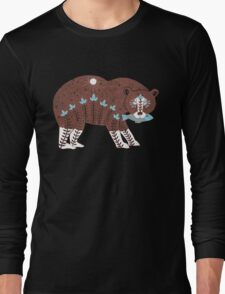 Folk Art Spirit Bear with Fish Long Sleeve T-Shirt