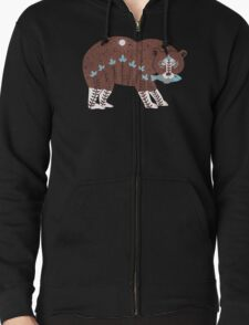 Folk Art Spirit Bear with Fish Zipped Hoodie