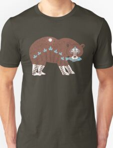 Folk Art Spirit Bear with Fish T-Shirt