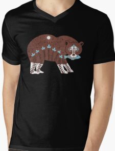 Folk Art Spirit Bear with Fish Mens V-Neck T-Shirt