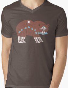 Folk Art Spirit Bear with Fish Mens V-Neck T-Shirt
