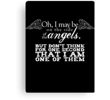 Side of the Angels - Black Canvas Print