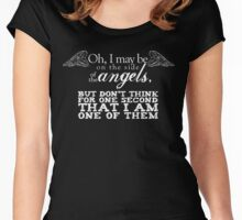 Side of the Angels - Black Women's Fitted Scoop T-Shirt