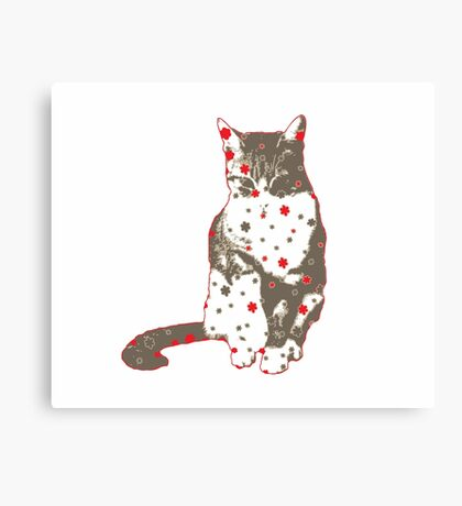 Cat in Gray and Red Canvas Print