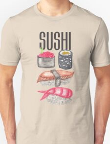 Cute Trendy Watercolor Sushi Sake and Chopsticks Unisex T-Shirt