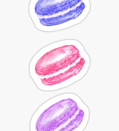 Colorful Hand Painted Watercolor Macaroon Cookies Sticker