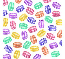 Colorful Hand Painted Watercolor Macaroon Cookies Photographic Print
