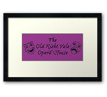 """Welcome To Night Vale """"The Old Night Vale Opera House"""" Black Writing, Purple Background Framed Print"""