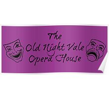 """Welcome To Night Vale """"The Old Night Vale Opera House"""" Black Writing, Purple Background Poster"""
