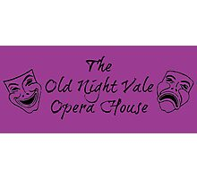 """Welcome To Night Vale """"The Old Night Vale Opera House"""" Black Writing, Purple Background Photographic Print"""