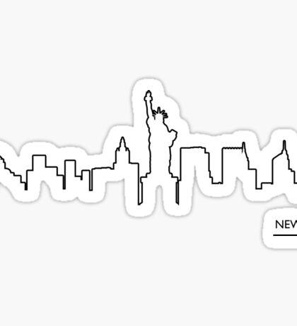New York cityscape (black line) Sticker