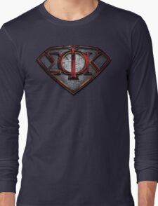 Phi Sig Superman Letters Long Sleeve T-Shirt