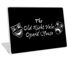 "Welcome To Night Vale ""The Old Night Vale Opera House"" White Writing, Black Background Laptop Skin"