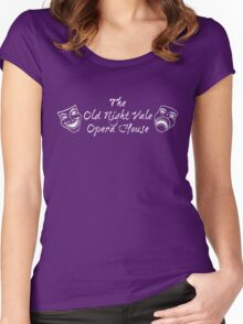 "Welcome To Night Vale ""The Old Night Vale Opera House"" White Writing, Purple Background Women's Fitted Scoop T-Shirt"