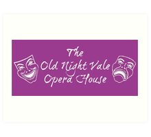 "Welcome To Night Vale ""The Old Night Vale Opera House"" White Writing, Purple Background Art Print"
