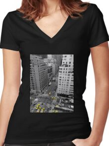 New York City - Taxis Women's Fitted V-Neck T-Shirt