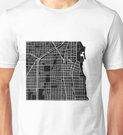 Evanston Map - Black Unisex T-Shirt