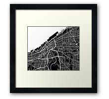 Cleveland Map - Black Framed Print