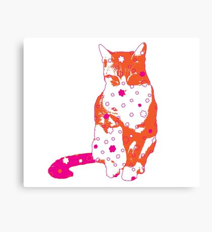 Cat in Orange and Hot Pink Canvas Print