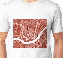 Cincinnati Map - Dark Red Unisex T-Shirt