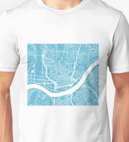 Cincinnati Map - Baby Blue Unisex T-Shirt