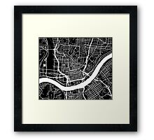 Cincinnati Map - Black Framed Print